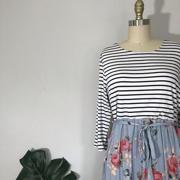Pinkblush Dresses & Skirts - Pinkblush • Stripes & Flowers Maxi Dress